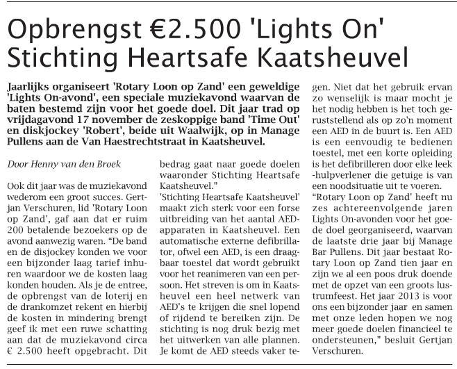 Duinkoerier 28-11-2012 Opbrengst Lights-On